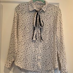Loft Cherry Blouse with Buttondown Front & Bow SzS